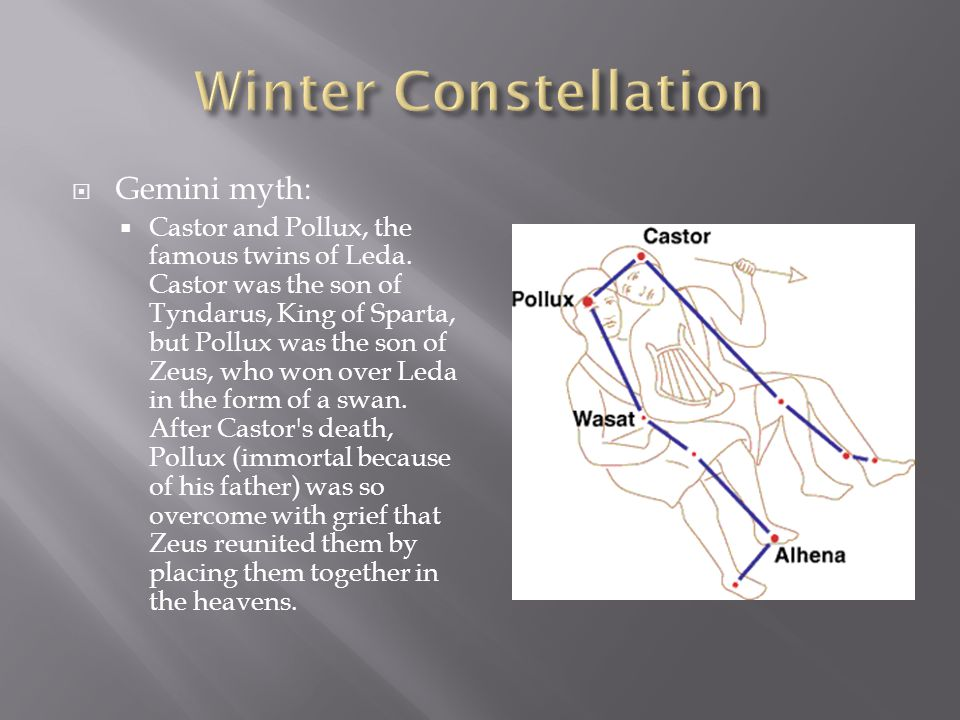  Gemini myth:  Castor and Pollux, the famous twins of Leda. Castor was the son of Tyndarus, King of Sparta, but Pollux was the son of Zeus, who won