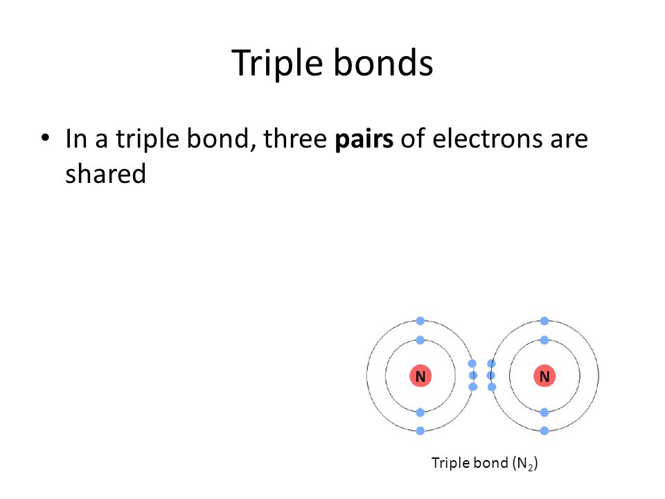 Triple bonds In a triple bond, three pairs of electrons are shared Triple bond (N 2 )