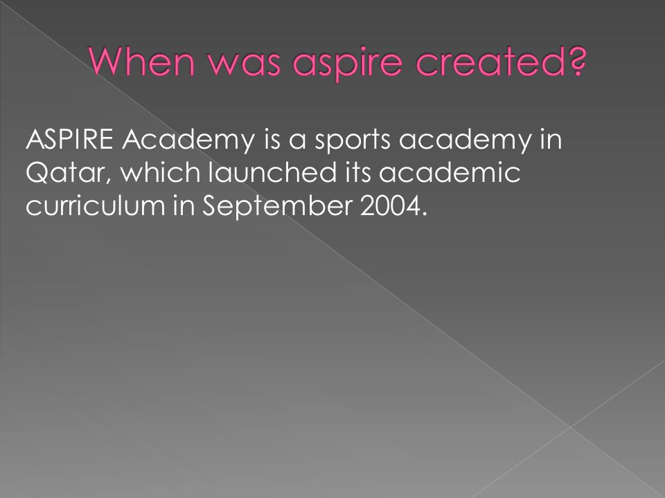 ASPIRE Academy is a sports academy in Qatar, which launched its academic curriculum in September 2004.