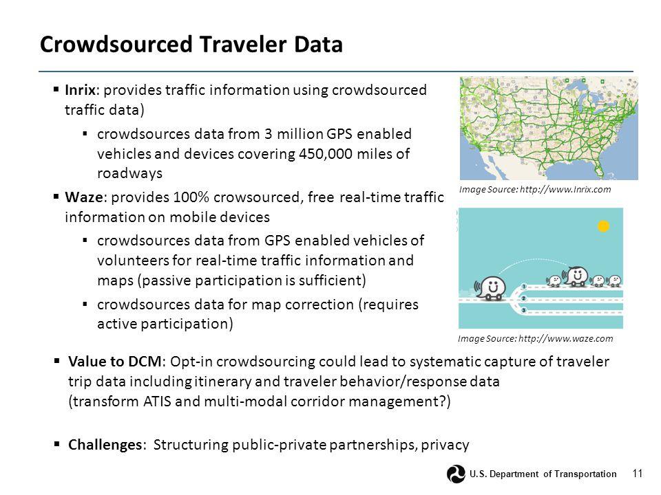 11 U.S. Department of Transportation Crowdsourced Traveler Data  Inrix: provides traffic information using crowdsourced traffic data) ▪ crowdsources