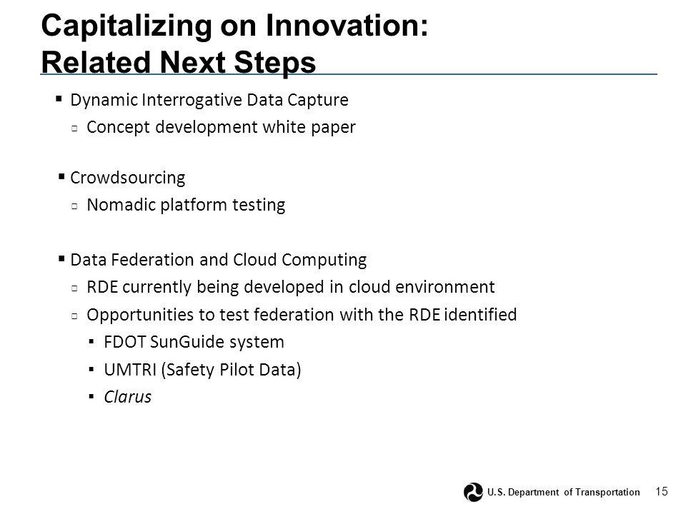 15 U.S. Department of Transportation Capitalizing on Innovation: Related Next Steps  Dynamic Interrogative Data Capture □ Concept development white p