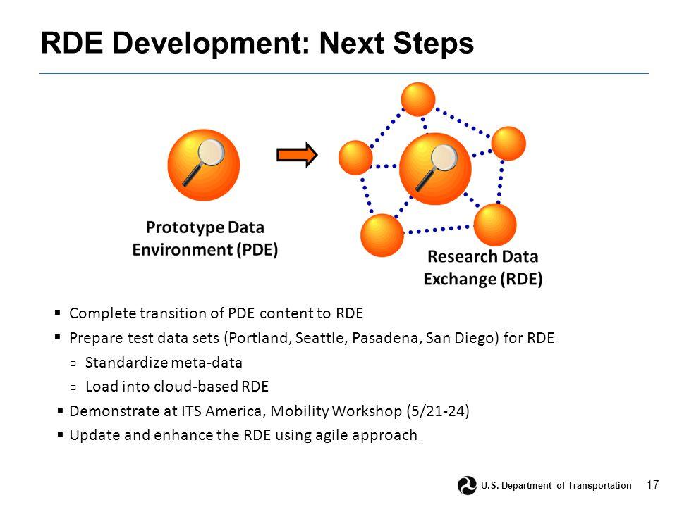 17 U.S. Department of Transportation RDE Development: Next Steps  Complete transition of PDE content to RDE  Prepare test data sets (Portland, Seatt