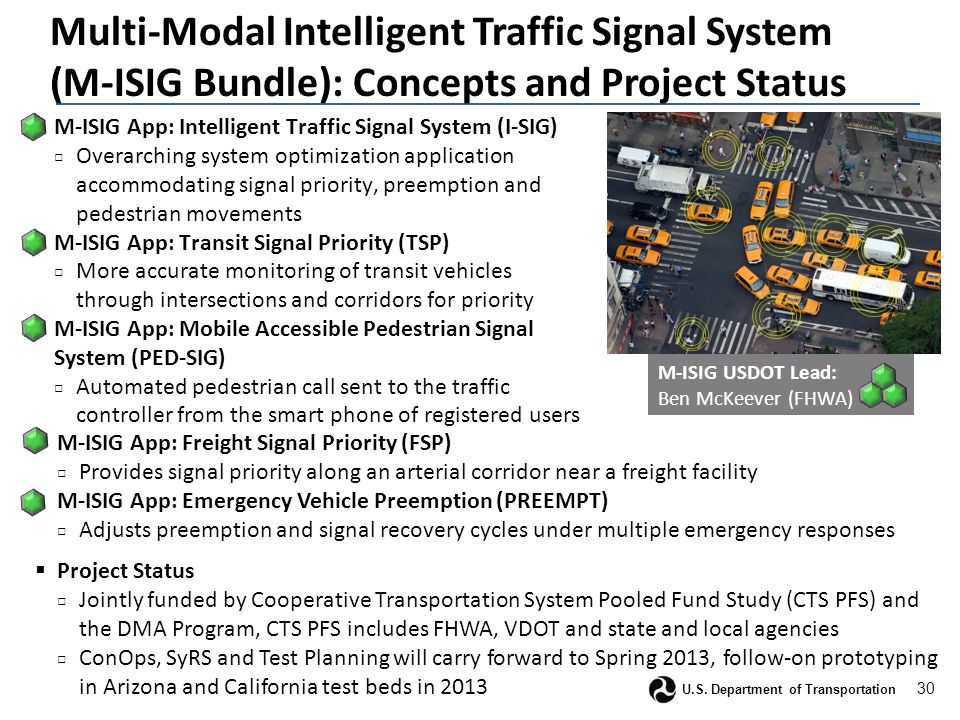 30 U.S. Department of Transportation Multi-Modal Intelligent Traffic Signal System (M-ISIG Bundle): Concepts and Project Status  M-ISIG App: Intellig