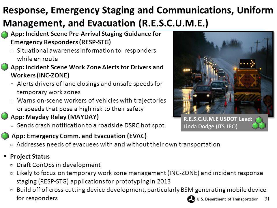 31 U.S. Department of Transportation Response, Emergency Staging and Communications, Uniform Management, and Evacuation (R.E.S.C.U.M.E.)  App: Incide