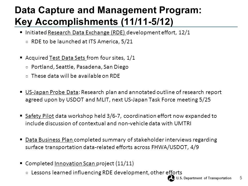 5 U.S. Department of Transportation Data Capture and Management Program: Key Accomplishments (11/11-5/12)  Initiated Research Data Exchange (RDE) dev