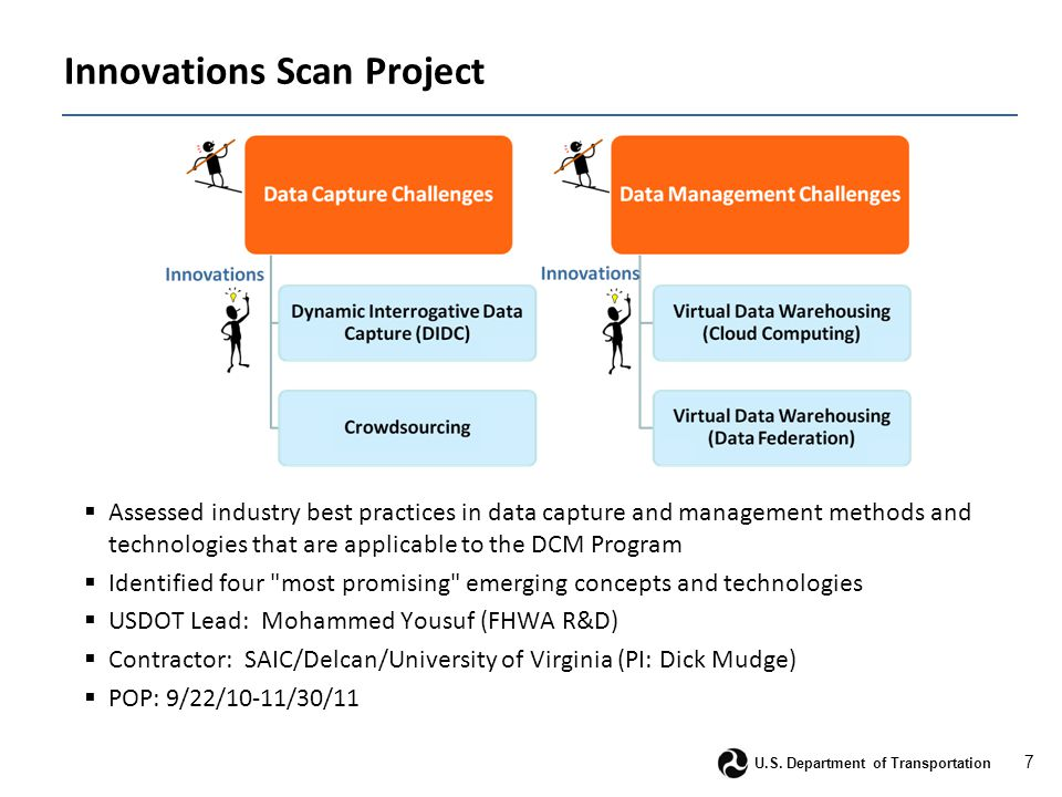 7 U.S. Department of Transportation Innovations Scan Project  Assessed industry best practices in data capture and management methods and technologie