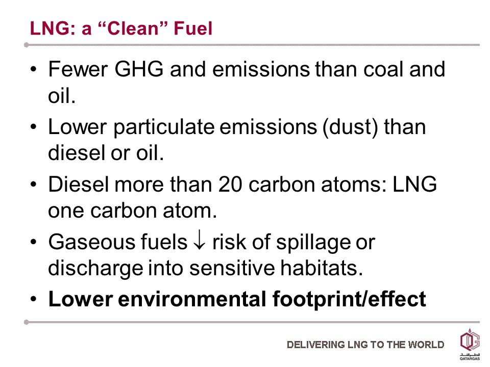 LNG: a Clean Fuel Fewer GHG and emissions than coal and oil.
