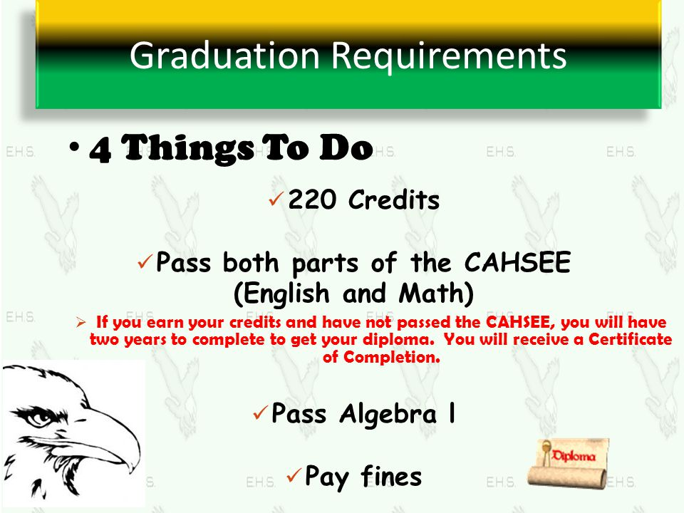 Graduation Requirements 220 Credits Pass both parts of the CAHSEE (English and Math)  If you earn your credits and have not passed the CAHSEE, you wi