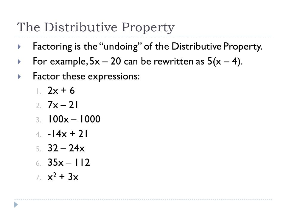 The Distributive Property  Factoring is the undoing of the Distributive Property.