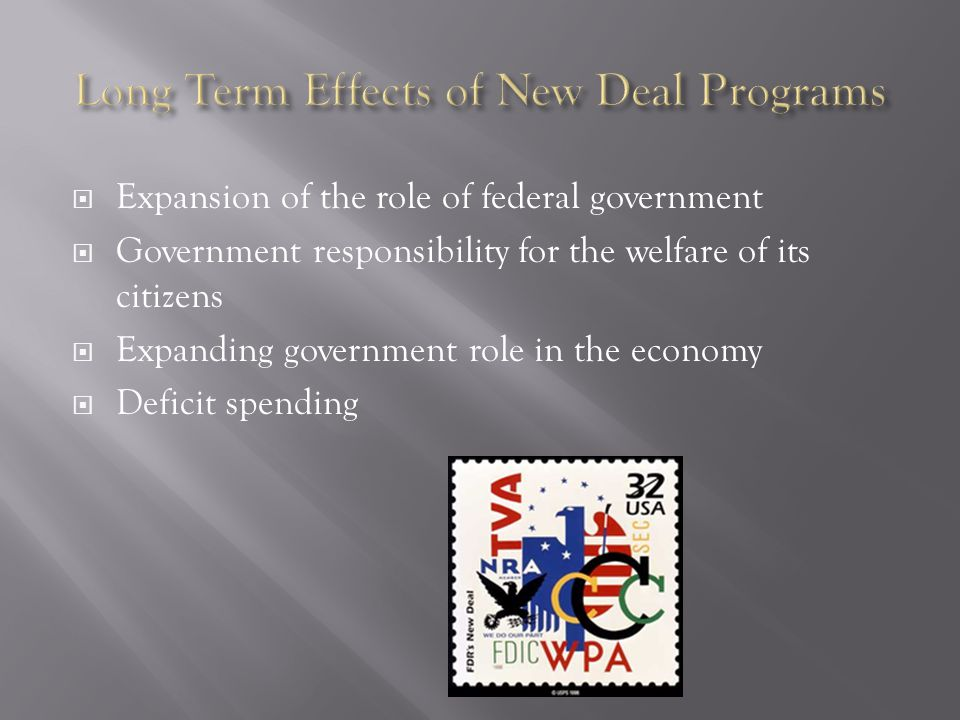  Expansion of the role of federal government  Government responsibility for the welfare of its citizens  Expanding government role in the economy  Deficit spending