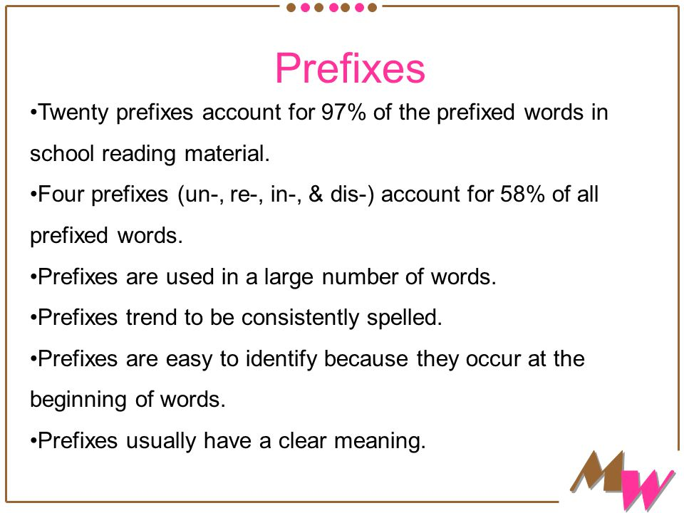 Twenty prefixes account for 97% of the prefixed words in school reading material.