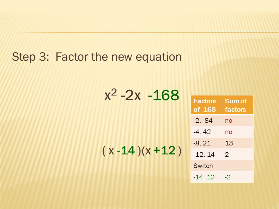 Step 3: Factor the new equation x 2 -2x -168 ( x -14 )(x +12 ) Factors of -168 Sum of factors -2, -84no -4, 42no -8, 2113 -12, 142 Switch -14, 12-2