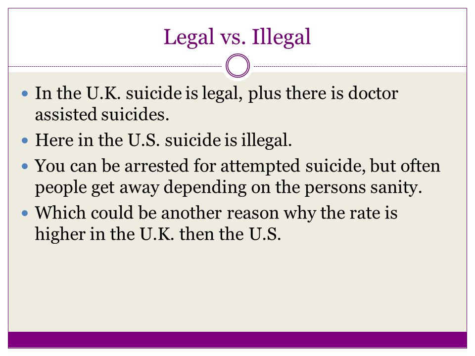 Legal vs. Illegal In the U.K. suicide is legal, plus there is doctor assisted suicides.