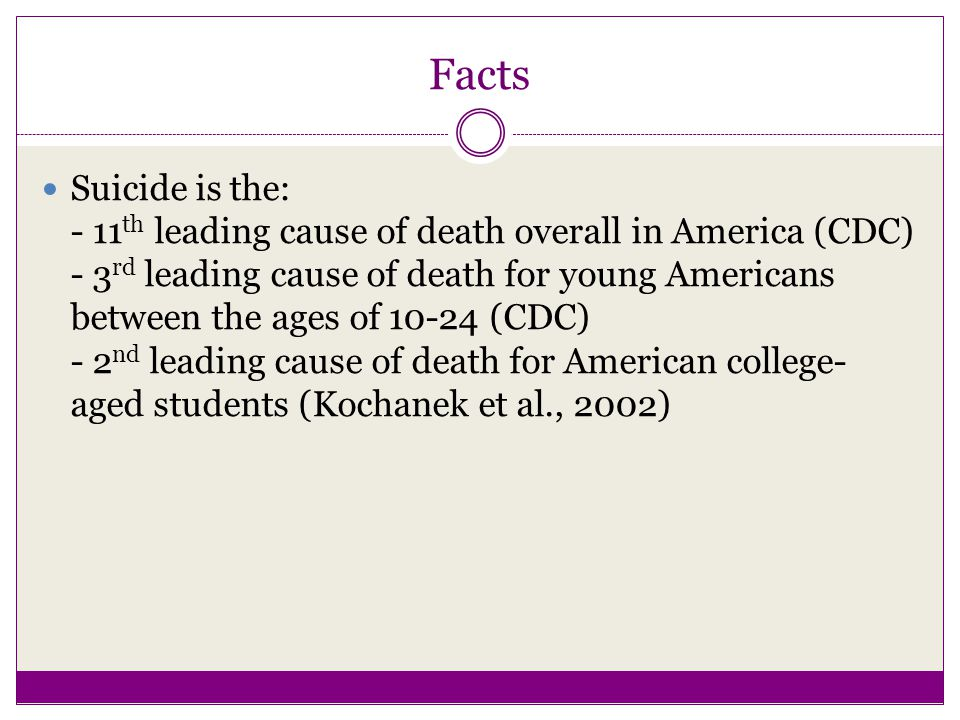 Facts Suicide is the: - 11 th leading cause of death overall in America (CDC) - 3 rd leading cause of death for young Americans between the ages of 10-24 (CDC) - 2 nd leading cause of death for American college- aged students (Kochanek et al., 2002)