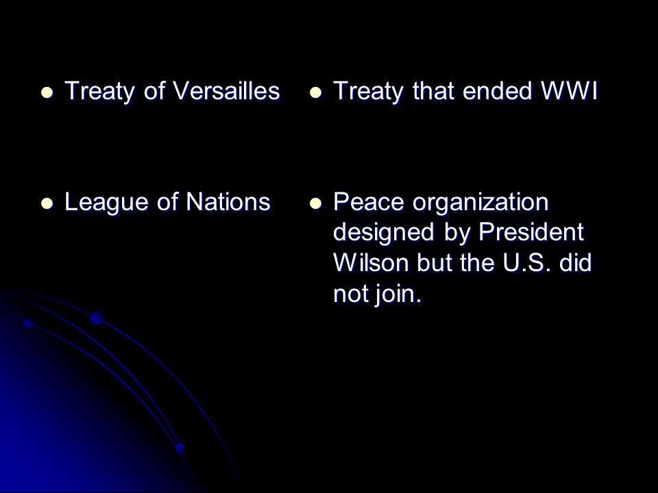 Treaty of Versailles Treaty of Versailles League of Nations League of Nations Treaty that ended WWI Treaty that ended WWI Peace organization designed by President Wilson but the U.S.