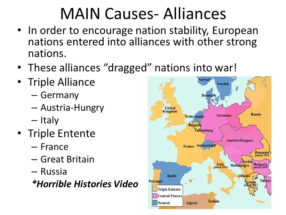 "MAIN Causes- Alliances In order to encourage nation stability, European nations entered into alliances with other strong nations. These alliances ""dra"