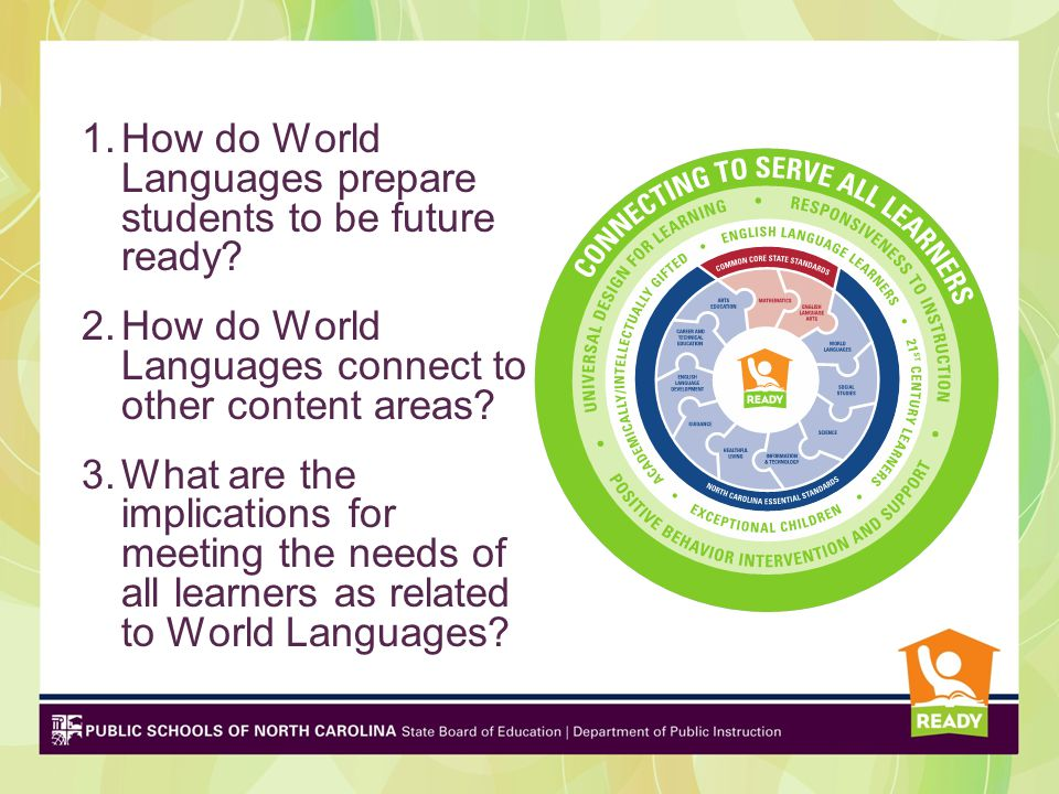 1.How do World Languages prepare students to be future ready? 2.How do World Languages connect to other content areas? 3.What are the implications for