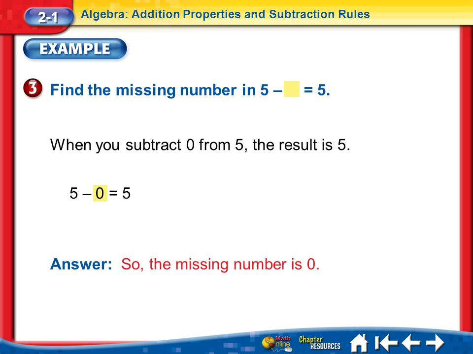 5 – 0 = 5 Lesson 1 Ex3 When you subtract 0 from 5, the result is 5.