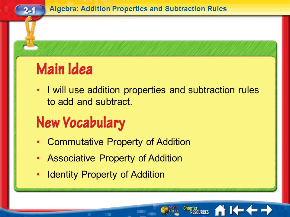 Lesson 1 MI/Vocab 2-1 Algebra: Addition Properties and Subtraction Rules I will use addition properties and subtraction rules to add and subtract. Com