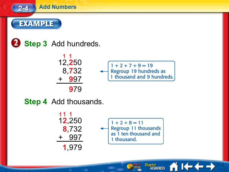 Lesson 4 Ex2 Step 3 Add hundreds. 2-4 Add Numbers Step 4 Add thousands. 79 12,250 8,732 + 997 1 9 1 979 12,250 8,732 + 997 11 1,1, 1
