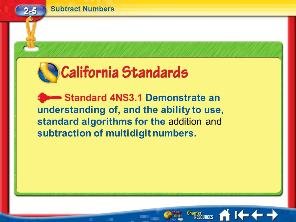 Lesson 5 Standard 1 2-5 Subtract Numbers Standard 4NS3.1 Demonstrate an understanding of, and the ability to use, standard algorithms for the addition and subtraction of multidigit numbers.