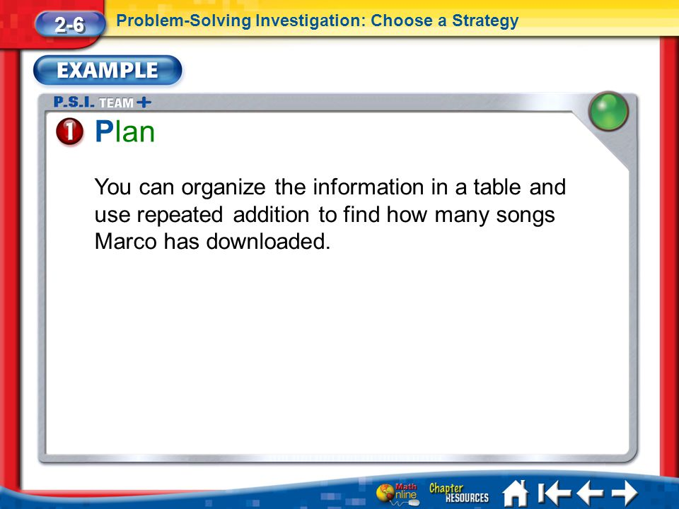 Lesson 6 Ex1 Plan 2-6 Problem-Solving Investigation: Choose a Strategy You can organize the information in a table and use repeated addition to find how many songs Marco has downloaded.