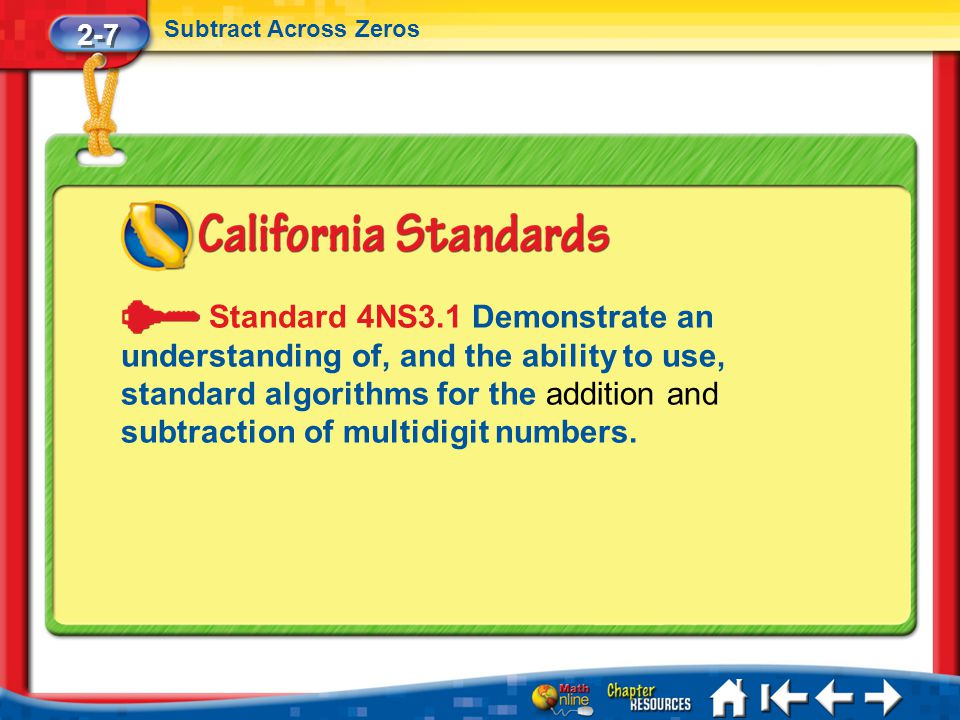 Lesson 7 Standard 2-7 Subtract Across Zeros Standard 4NS3.1 Demonstrate an understanding of, and the ability to use, standard algorithms for the addit