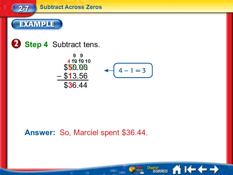 Lesson 7 Ex2 Step 4 Subtract tens. 2-7 Subtract Across Zeros Answer: So, Marciel spent $36.44.