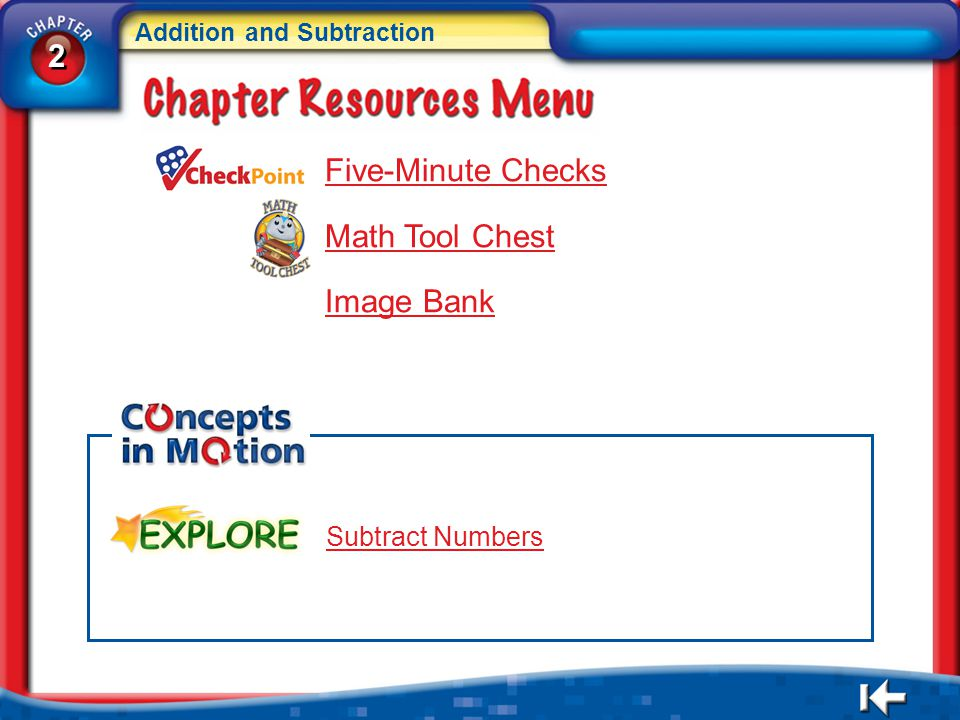 2 2 Addition and Subtraction 2 2 CR Menu Five-Minute Checks Math Tool Chest Image Bank Subtract Numbers