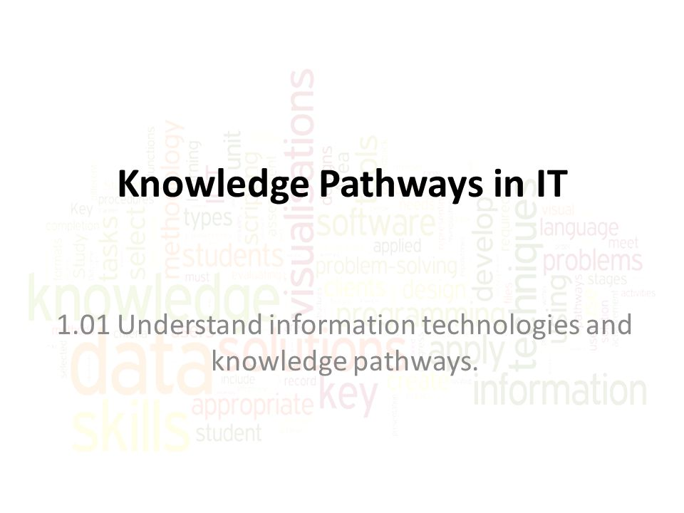 Information Support and Services This pathway involves IT deployment and includes… – Implementing computer systems and software – Providing technical assistance – Managing information systems