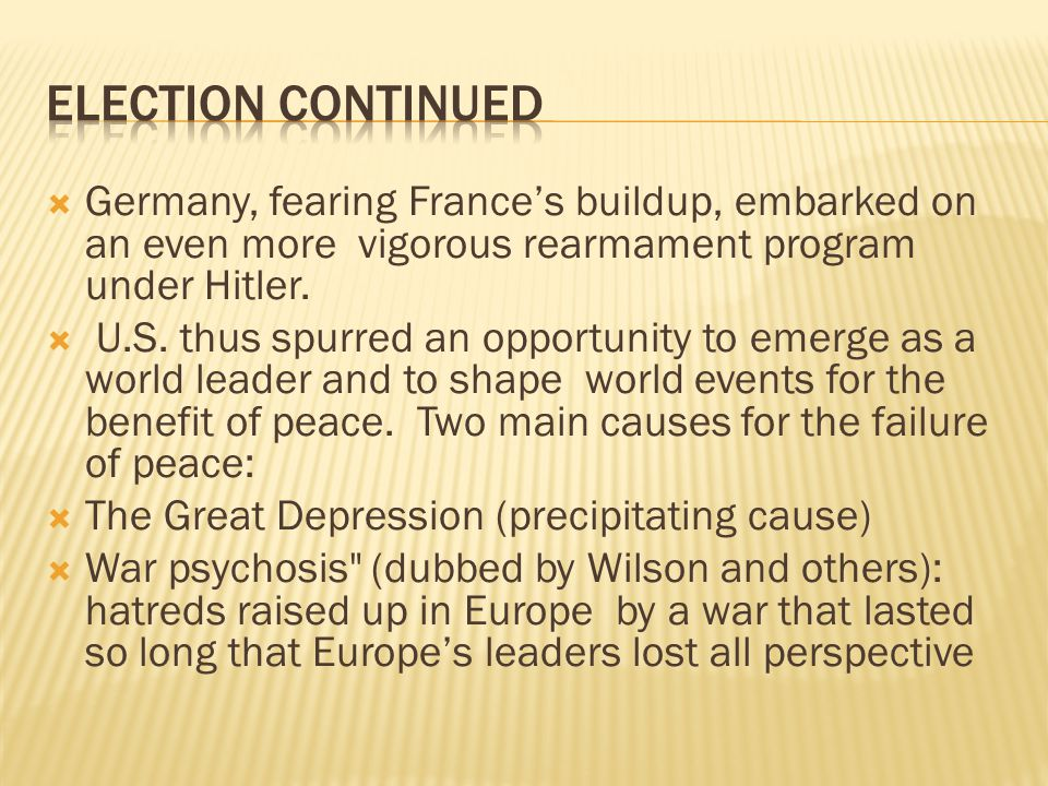  Germany, fearing France's buildup, embarked on an even more vigorous rearmament program under Hitler.