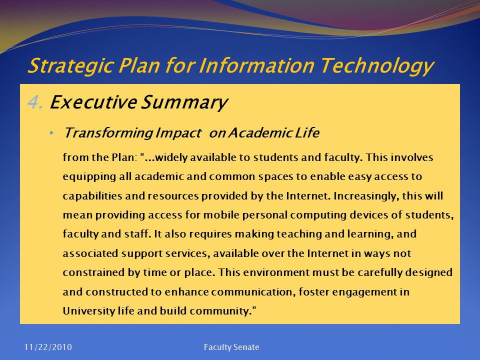 Strategic Plan for Information Technology 4.