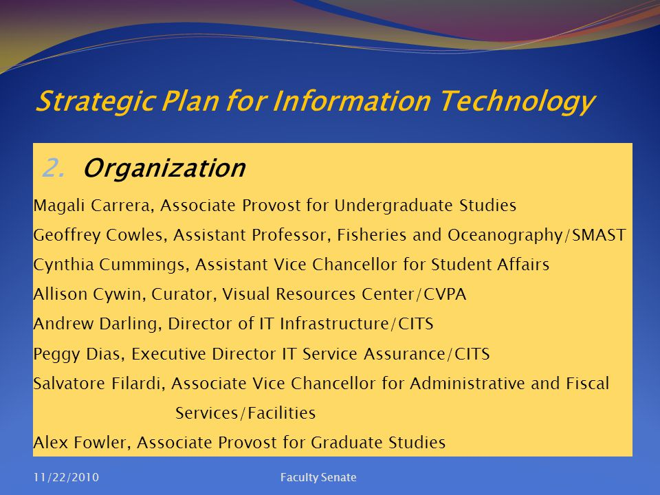 Strategic Plan for Information Technology 2. Organization Magali Carrera, Associate Provost for Undergraduate Studies Geoffrey Cowles, Assistant Profe