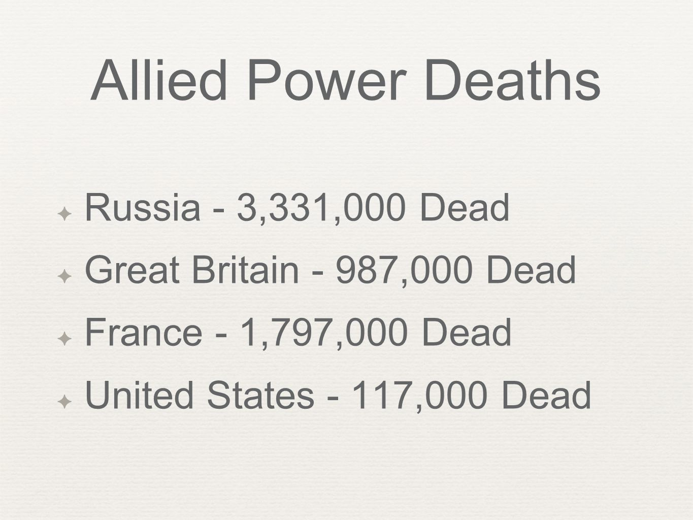 Allied Power Deaths ✦ Russia - 3,331,000 Dead ✦ Great Britain - 987,000 Dead ✦ France - 1,797,000 Dead ✦ United States - 117,000 Dead