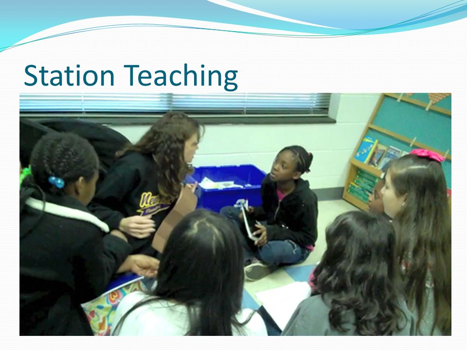 Station Teaching Each teacher leads a station, and students rotate to appropriately challenging activities