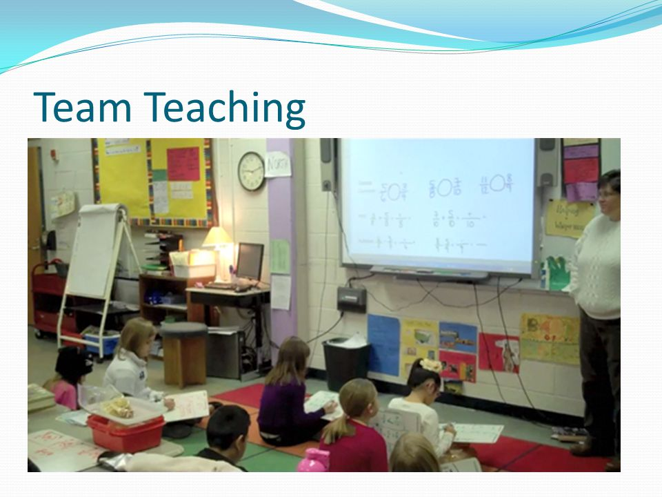 Team Teaching Two teachers deliver a lesson simultaneously, building off one another