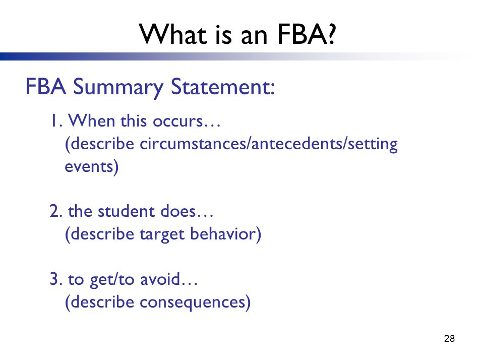 28 FBA Summary Statement: 1.