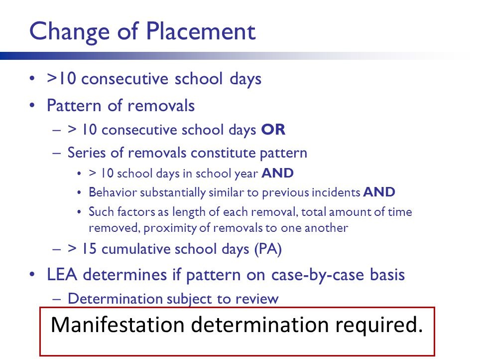 Practical Considerations for MD Process Hold the regular education proceedings first Prepare packet of information for each member of MD team Document the information reviewed Make the determination –Be prepared for nonconsensus