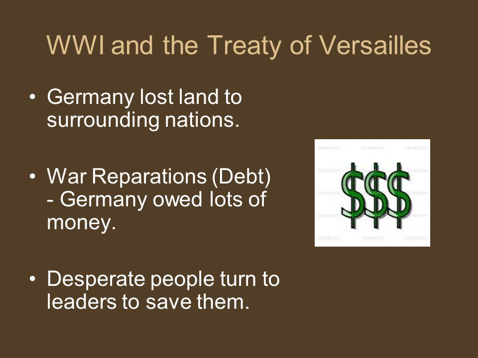 WWI and the Treaty of Versailles Germany lost land to surrounding nations.