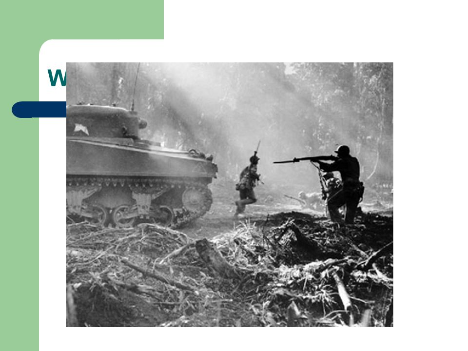 Major Battles-Pacific Midway *** – June 4-7, 1942; Turning point of the war in the Pacific – Weakens Japanese navy; they fight defensively for rest of the war Guadalcanal – Aug.1942-Feb.1943; First major land offensive against Japan – Leads to Island Hopping Leyte Gulf – October 1944; Largest naval battle in modern history – Japanese begin using kamikaze pilots Iwo Jima*** – Feb-Mar.1945; 22,000 Japanese killed (216 capture) – Fierce fighting; Japanese wouldn't surrender Okinawa – Mar-June 1945; last stop before mainland of Japan – Japanese continue to fight to the end (200,000 military & civilian casualties) – US plan invasion of Japan