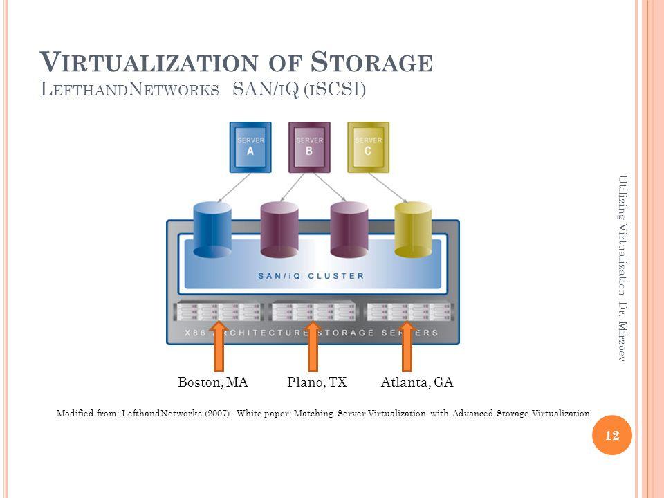 V IRTUALIZATION OF S TORAGE L EFTHAND N ETWORKS SAN/ I Q ( I SCSI) Modified from: LefthandNetworks (2007).