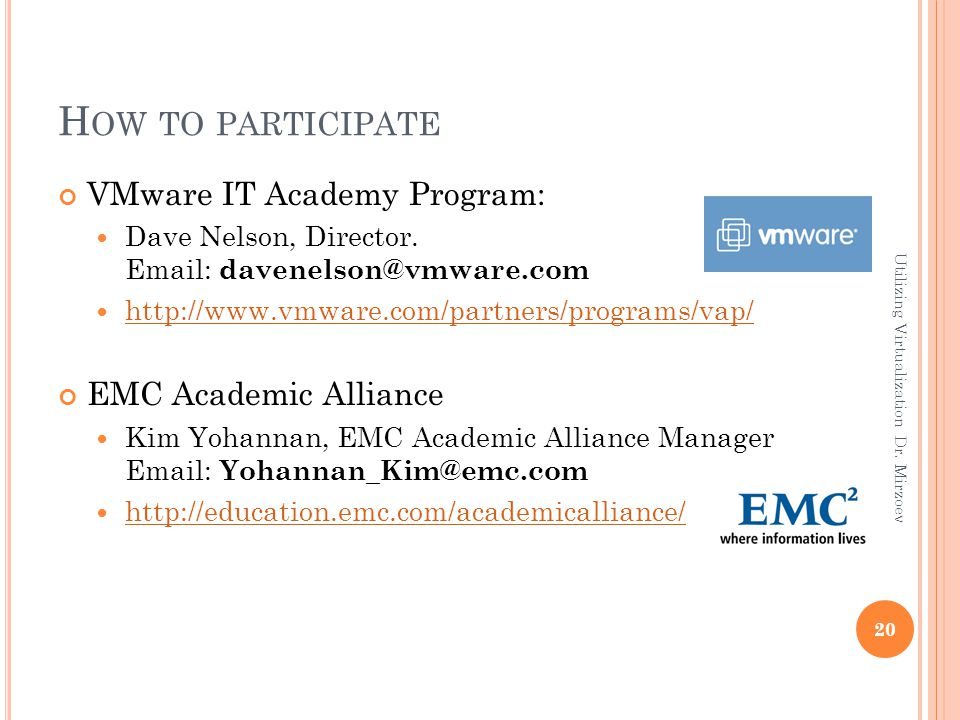 H OW TO PARTICIPATE VMware IT Academy Program: Dave Nelson, Director. Email: davenelson@vmware.com http://www.vmware.com/partners/programs/vap/ EMC Ac
