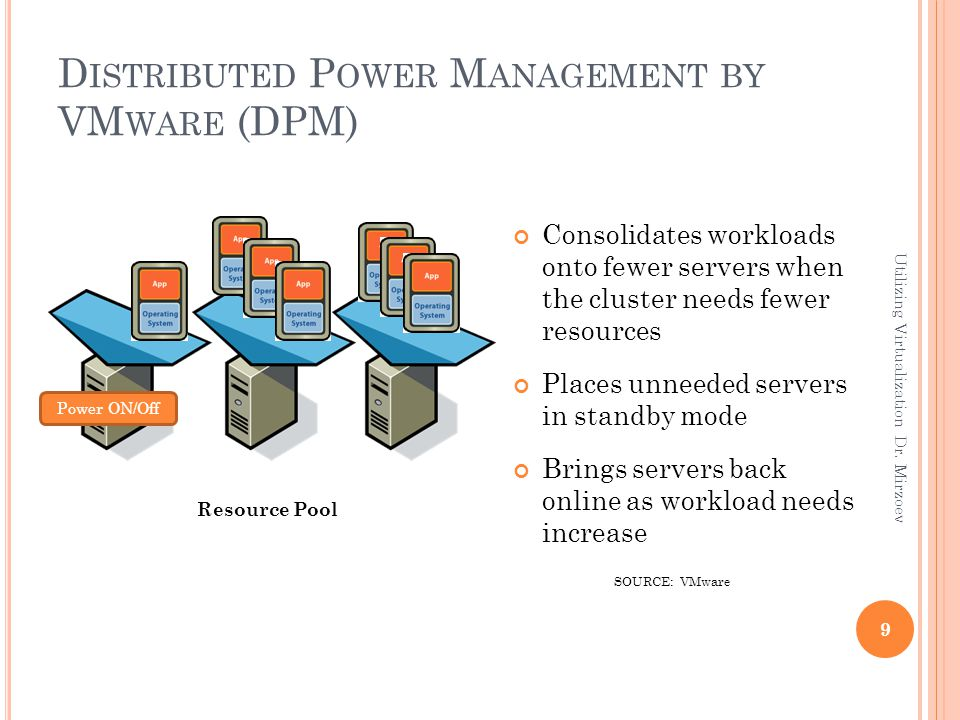 D ISTRIBUTED P OWER M ANAGEMENT BY VM WARE (DPM) Consolidates workloads onto fewer servers when the cluster needs fewer resources Places unneeded serv