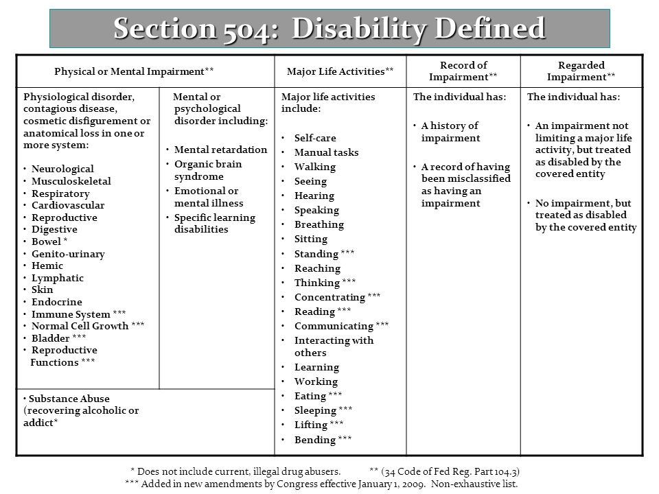 Section 504: Disability Defined Physical or Mental Impairment**Major Life Activities** Record of Impairment** Regarded Impairment** Physiological diso