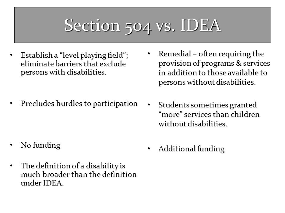 """Section 504 vs. IDEA Establish a """"level playing field""""; eliminate barriers that exclude persons with disabilities.Establish a """"level playing field""""; e"""