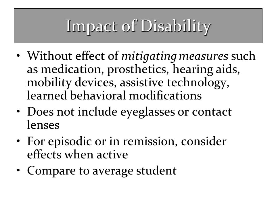 Impact of Disability Without effect of mitigating measures such as medication, prosthetics, hearing aids, mobility devices, assistive technology, lear