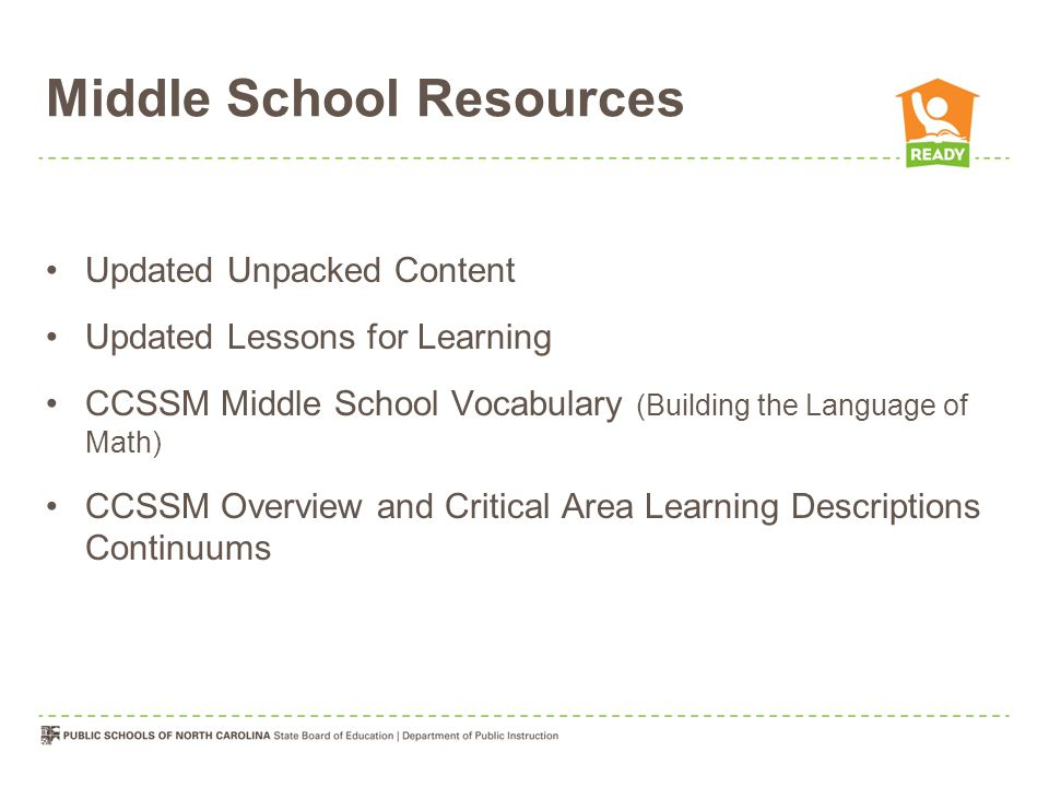 Middle School Resources Updated Unpacked Content Updated Lessons for Learning CCSSM Middle School Vocabulary (Building the Language of Math) CCSSM Ove