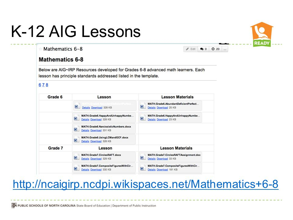 K-12 AIG Lessons http://ncaigirp.ncdpi.wikispaces.net/Mathematics+6-8
