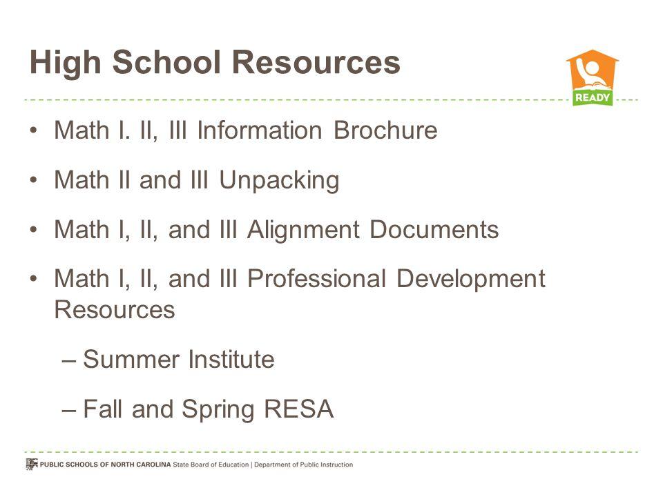 High School Resources Math I.