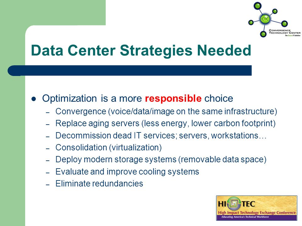 Data Center Strategies Needed Data Centers that were built in last 10-15 years – Reached premature End of Life – Were not built to support ACTUAL grow